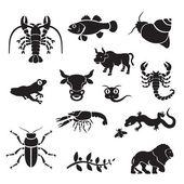 Silhouette - hayvanlar — Stok Vektör