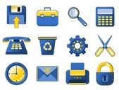 Vector Icons - blue and yellow — Stock Vector