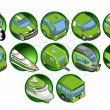 Stock Vector: Isometric icon set of vehicles