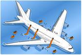 Isometric airplane splashdown — Stock Vector