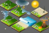 Isometric representation of natural disaster — Stock Vector