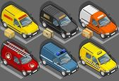 Isometric van in six models — Stock Vector