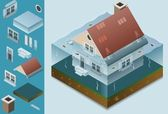 Isometric flooded house — Stock Vector