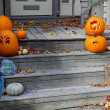 Halloween Decorations on the front Steps — Foto de Stock