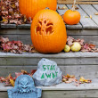 Halloween Pumpkin on White Guardrail - Stock Photo