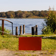 Empty Red Sign before Lake Copyspace - Stock Photo