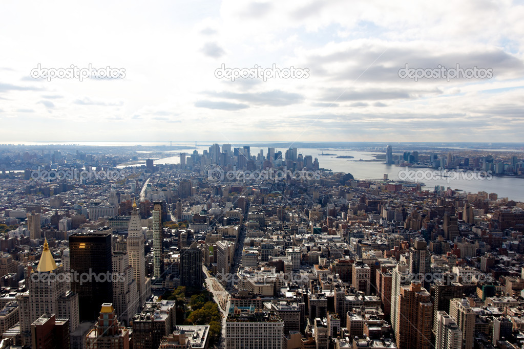 A view of the Manhattan cityscape from the Empire State Building in New York, NY.  Stock Photo #7194808