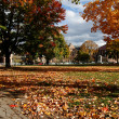 Cambridge Common in Fall, View towards Harvard Law School - Stockfoto