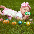 Easter Baby Hold Egg Lay — Stock Photo