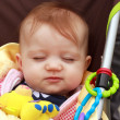 Baby In Stroller Smirk — Stock Photo