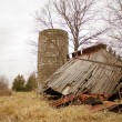 Foto Stock: Collapsed Barn Back