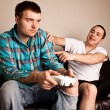 Two Guys Playing VG Shove — Stock Photo