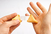 Fortune Cookie Hands Shock — Stock Photo