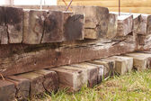 Railroad Ties Close Front — Stock Photo