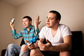 Two Guys Playing VG One Wins — Stock Photo