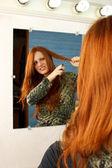 Cut Hair Mirror — Stock Photo