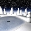 Snowy winter scene - Stock Photo