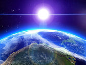 The sun and the earth in space — Stock Photo
