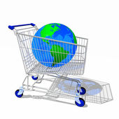 Shopping cart with globe — Stockfoto