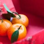 Mandarin oranges with Chinese new year money packet — Stock Photo
