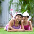 Two sisters in sporty clothes — Stock Photo