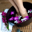 Feminine feet in foot spa — Stock Photo