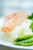 Baked salmon with mash potato — Stock Photo