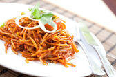 Delicious stir fried noodles Asian style — Stock Photo