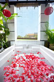Spa bath full of rose petal — Stock Photo