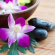 Spa stones with orchids and bowl of water — Stock Photo #7140682