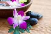 Pedras de spa com orquídeas e tigela de água — Fotografia Stock