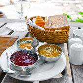 Breakfast on the terrace — Stock Photo