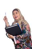 Beautiful mature Muslim woman in thinking pose — Stock Photo