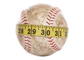 Softball with tape measure — Stock Photo