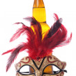 Cider and masquerade mask — Stock Photo