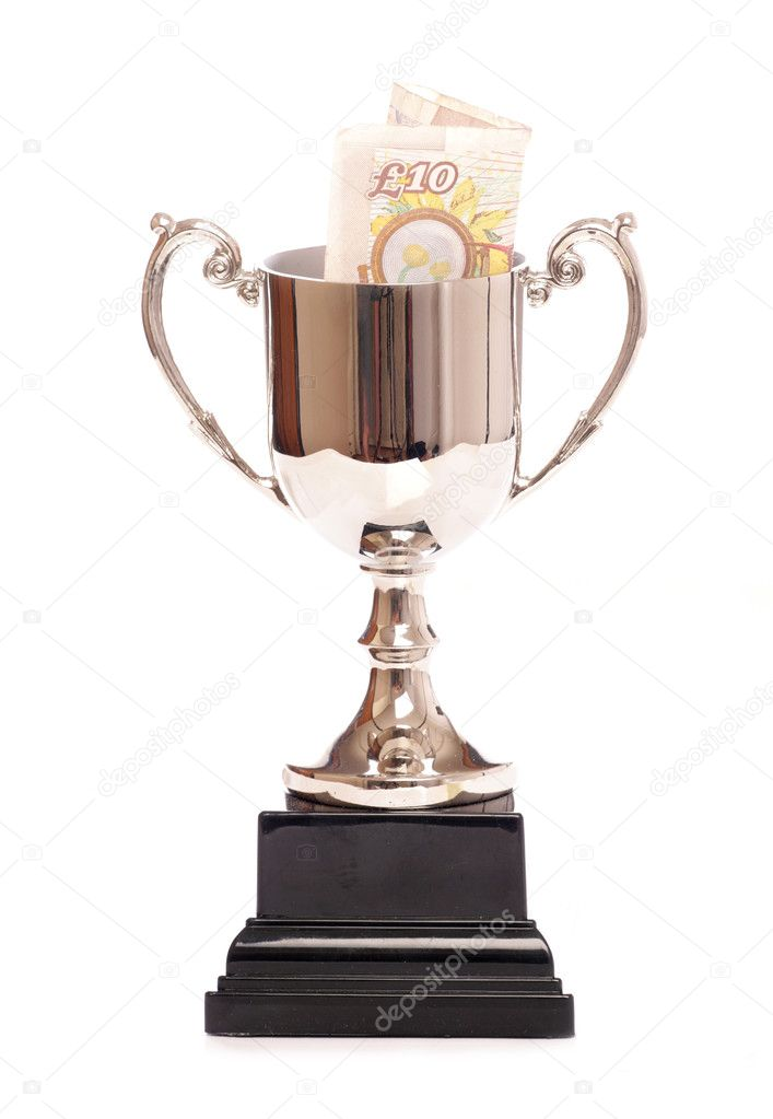 Silver trophy with ten pound note studio cutout — Stock Photo #7144588