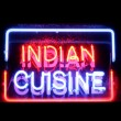 Indian cuisine neon sign — Stock Photo