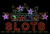 Slots gambling neon sign — Photo