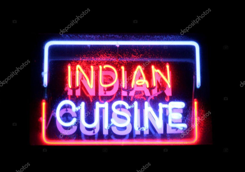 enseigne au n on de la cuisine indienne photographie chrisbrignell 7156663. Black Bedroom Furniture Sets. Home Design Ideas