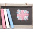 Stock Photo: Chalkboard and chalk studio cutout
