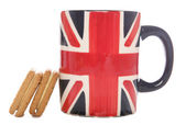 British tea mug and biscuits — Stock Photo