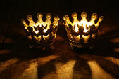 Two Crown candles still life portrait — Stock Photo