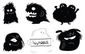 Icone di mostri pelosi — Vettoriale Stock