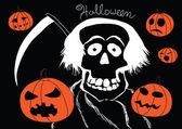 Death with pumpkins Halloween vector background — Stock Vector
