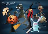 Halloween characters - pumpkiin, wicth, zombie, dracula, zombie — Stock Vector
