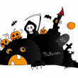 Halloween scene with monster, death and pumpkins — Stock Vector #7249697