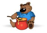 šťastné medvěd s honey pot — Stock vektor