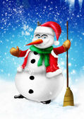 Smiling snowman with broom and green scarf — Stock fotografie