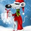 Stock Photo: Christmas smiling cartoon mouse with gift