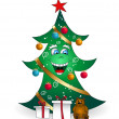 Stock Vector: Christmas cartoon smiling tree